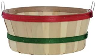 Shallow Bushel Basket, with Red and Green Bands