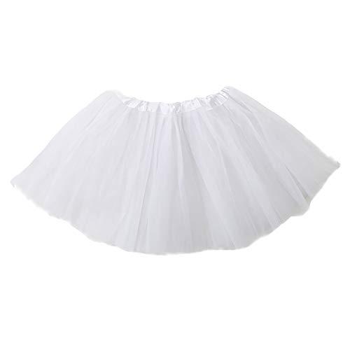 Tutu Elastico Tul Falda Disfraz Ballet Faldas Enaguas Cortas Vestido De Danza Corto Falda De Baile (Blanco, Talla única)
