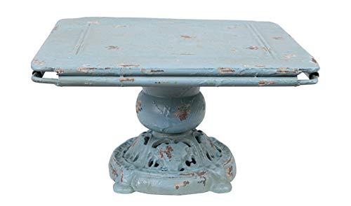 Creative Co-Op Distressed Blue Metal Pedestal