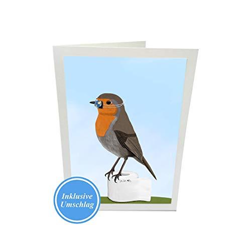 Lustige Grußkarte Rotkehlchen Vogel mit Mundschutz Zeichnung inklusive Umschlag