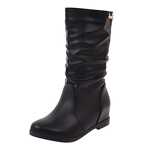 serliy😛Damen Keilstiefel Stiefel PU Lederstiefel Winter Casual Warme Stiefel Retro Ritterstiefel