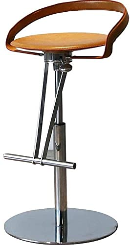 Modern Faux Leather Pub Chair Barstools, 360 Degree Swivel Counter Bar Stool Chair with Backs Height-Adjustable for Bar Home 915 (Color : Brown)