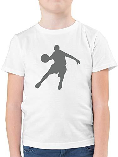 Sport Kind - Basketballspieler - 164 (14/15 Jahre) - Weiß - Shirt Kinder Basketball - F130K - Kinder Tshirts und T-Shirt für Jungen