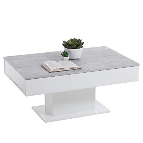 FMD furniture Couchtisch, Holzwekstoff, Beton LA/Weiß Edelglanz, ca. 100 x 65 x 45 cm