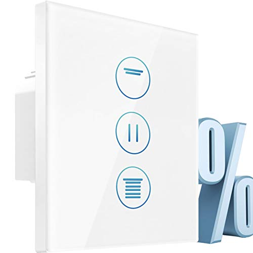 [Prozentfunktion] 4th Generation Wlan Rolladenschalter,CURRYDOUBLE Rolladen Zeitschaltuhr mit Steuerbare LED,Timer, Kindersicherung.Jalousien Schalter mit Alexa und Google,Rolladensteuerung 80x80mm