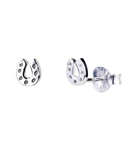 SIX Pendientes de mujer de plata 925, pendientes como amuleto de la suerte, conector en forma de herradura, pendientes para amantes de los caballos en plata (791-197)