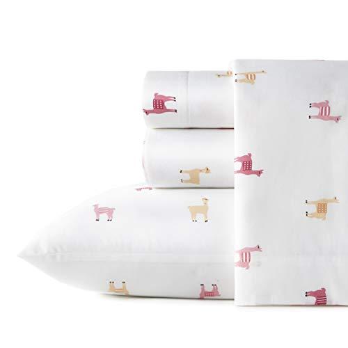 Poppy & Fritz Juego de sábanas de percal 100% algodón, nítido y Fresco, Ligero y Que Absorbe la Humedad, Individual, Miss Llama