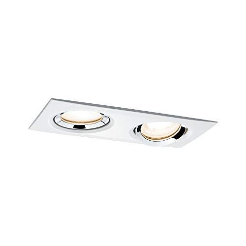 Paulmann Nova 92902 Spot LED encastrable carré orientable avec 1 x 2 x 7 W à intensité variable Blanc mat chromé Spot encastrable en aluminium zinc 2700 K GU10