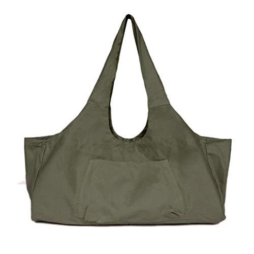 YSINFOD - Bolsa de Gran Capacidad para Esterilla de Yoga con Bolsillos Extra Anchos, Bolsa de Hombro portátil, Color Verde Militar, tamaño As Description