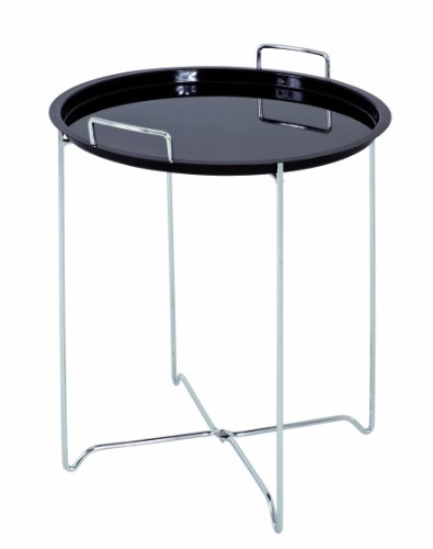 Haku Möbel 33580 Table Basse d'Appoint Tube d'Acier Chromé/Noir