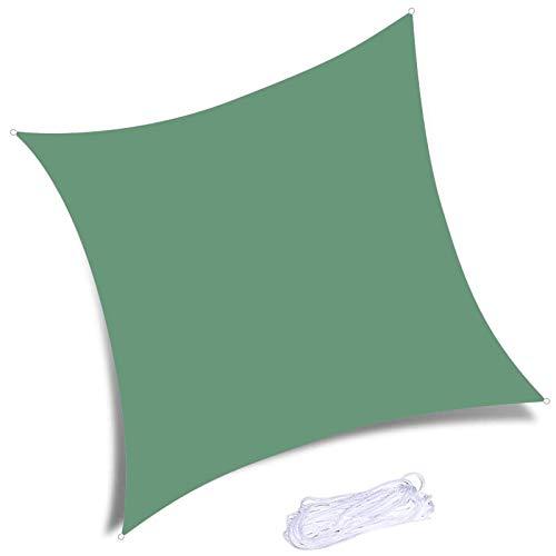 YTQ Velas de Sombra Toldo Impermeable con Bloque De 95% UV, Rectangular, Patios Al Aire Libre, Patio Trasero, Pérgola, Terraza, Piscina con 4 Cuerdas Gratis(Color:Verde)