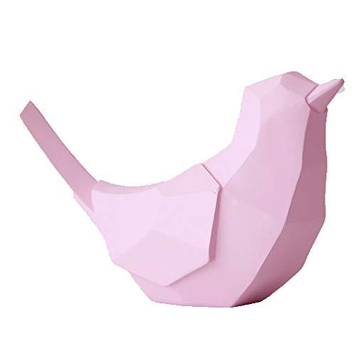 Kassa MYKK Geometrische Vogel Hars Bank Beeldje Ambacht Voor Woondecoratie Leuk Speelgoed Voor Kind Spaarvarkens Vogel 19.5 * 12.5 * 7.5cm Roze