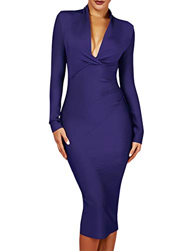 UONBOX Women's Deep Plunge V Neck Long Sleeves Draped Knee Length Bodycon Bandage Dress