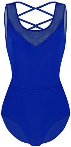ACSUSS Women s Scoop Neck Criss Cross Ballet Dance Leotard Gymnastic Bodysuit Dancewer Blue product image