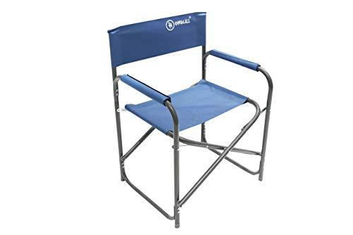 Homecall - Silla de camping plegable de aluminio con respaldo (azul)