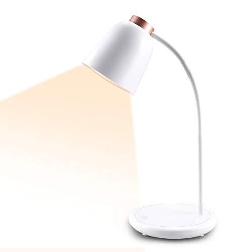 Collen Schreibtischlampe LED, USB Tischlampe 5W 3 Farb und 7 Helligkeitsstufen Dimmbar Tischleuchte mit Touchbedienung, Augenschutz verstellbarer Schwanenhals [Energieklasse A+] (Rosegold)