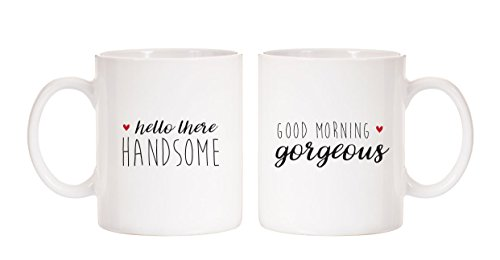 Mystic Sloth Hello Handsome/Good Morning Gorgeous 11oz Ceramic Mugs (White, Hello Handsome & Good Morning Gorgeous)