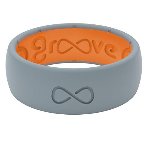 Groove Life Silicone Wedding Ring for Men - Breathable Rubber Rings for Men, Lifetime Coverage, Unique Design, Comfort Fit Mens Ring - Original Solid Storm Grey/Orange Size 7
