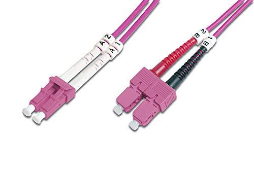 DIGITUS LWL Patch-Kabel OM4 - 5 m LC auf SC Glasfaser-Kabel - LSZH - Duplex Multimode 50/125µ - 10 GBit/s - Violett