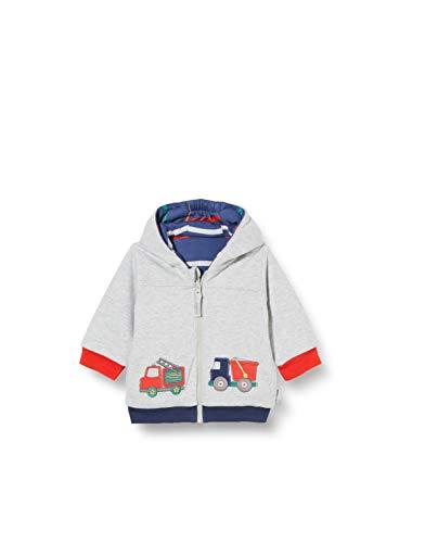 Sigikid Baby-Jungen Wendejacke mit Kapuze aus Bio-Baumwolle, Größe 062-098 Jacke, Grau/Blau, 68