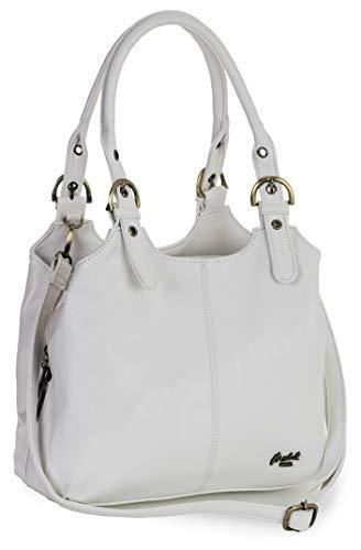 Mabel London Amelia Damen-Handtasche mit mehreren Fächern, mittlere Größe, mehrere Fächer mit langem Schultergurt Gr. One size, weiß