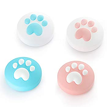 LeyuSmart Cat Claw Design Thumb Grip Caps Joystick Cap for Nintendo Switch & Lite Soft Silicone Cover for Joy-Con Controller  Pink&Blue