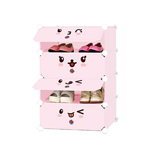 XWZH Gabinete de zapatos a prueba de polvo, 4 cubos, zapatero entrelazado, armario de pie, estantes de almacenamiento, organizador de ropa, 46 × 37 × 75 cm (color rosa