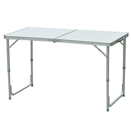 Outsunny Campingtisch Klapptisch Picknicktisch Koffertisch Esstisch höhenverstellbar Alu + MDF Weiß 120 x 60 x 54/70 cm