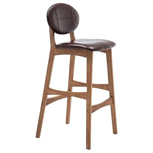 XNLIFE Nordic massief houten stoel, creatief retro bar-stoel, moderne minimalistische kwaliteit leer, barkruk, rugleuning, hoge zithoogte 65/75 cm, bureaustoel