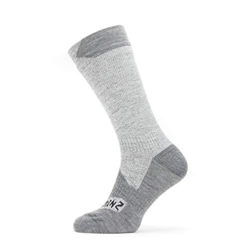 SEALSKINZ Unisex Waterproof All Weather Mid Length Sock, Grey/Grey Marl, Small