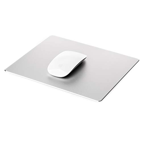 Gaming Mouse Pad Mat with Non Slip Rubber Base & Frosted Surface for Apple MacBook iMac Computer and Laptops - Aluminium Silver
