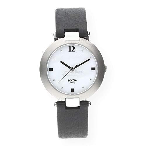 Boccia Damen Analog Quarz Uhr mit Leder Armband 3292-01