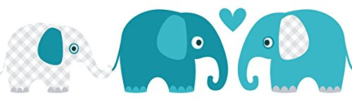 lovely label Bordüre selbstklebend Elefanten Petrol/Mint/GRAU - Wandbordüre Kinderzimmer/Babyzimmer mit Elefanten - Wandtattoo Schlafzimmer Mädchen & Junge – Wanddeko Baby/Kinder