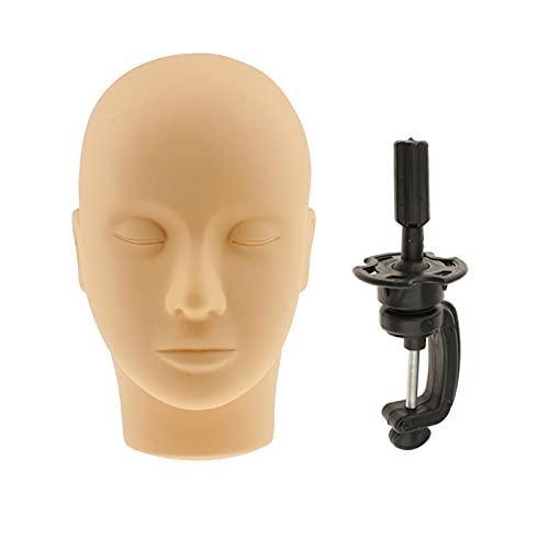 RANGE Perruque de tête Cils de Silicone Doux Massage Visage Peinture Pratique entraînement Mannequin Mannequin tête + Porte-Bureau Noir Titulaire de la Pince pour Faire Perruque