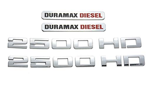 Aimoll 2500HD 2500 HD Nameplates Emblems Plus Duramax Diesel Allison 3D Decal Badges Letter Glossy Replacement for Gm Silverado Sierra (Chrome)