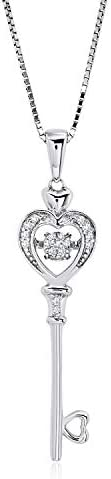 Dancing Diamond Key to Her Heart Pendant Necklace in 925 Sterling Silver by Parade of Jewels product image