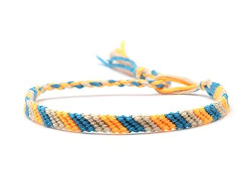 Pulsera ZIYUYANG, cuerda bordada multicolor, pulsera de la amistad de barra de caramelo tejida a mano para mujeres y hombres, imitación de rodio