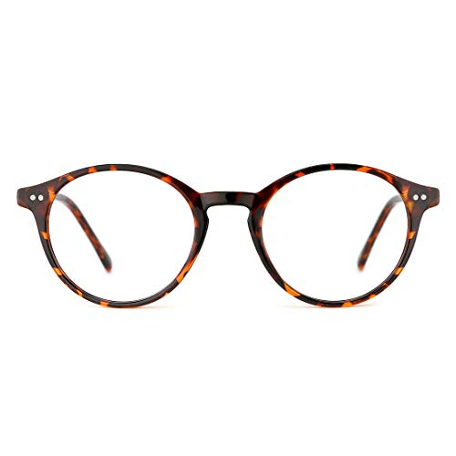 TIJN Vintage Glasses for Women Men Thick Round Rim Eyeglasses Clear Lens