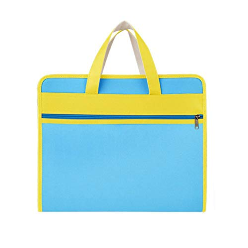 DaoDai Briefcase Conference 12 Layer Oxford Cloth Organ Bag Travel Zipper Waterproof Insert File Bag IPad Handbag Storage for Holiday and Office (Light Blue)