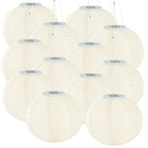 Lunartec Solar Lampions warmweiss: 12er-Set Solar-LED-Lampions, LEDs, Dämmerungs-Sensor, IP44, Ø30 cm (Solar Lampignon)