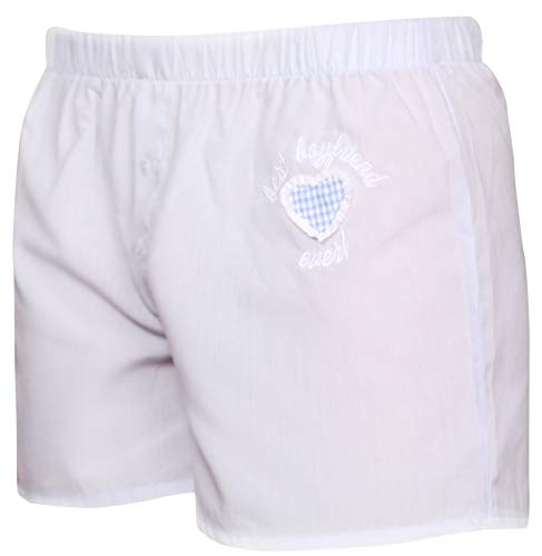 Ringelsuse - Boxershorts, Unterwäsche Herren, Männer Stickerei Best Boyfriend Ever, 100% Baumwolle Größe M aus Fairtrade Herstellung, Unterhose in hellblau, weiß