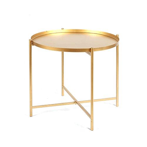 C-J-Xin Schmiedeeiserne faltbare kleine Couchtisch Sofa Ecke Stilvolle Nachttisch Kleine Runde Tisch Schlafzimmer Grün Gelb Weiß Golden | 36-46.5cm Living Room Tables ( Color : Gold , Size : B )
