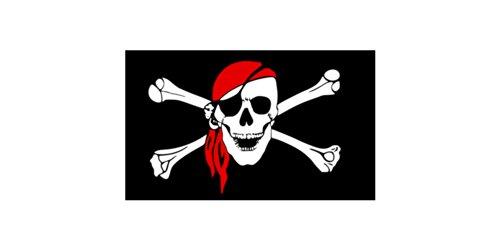 Nauticalia - Bandiera dei pirati con teschio + bandana, 92 x 153 cm