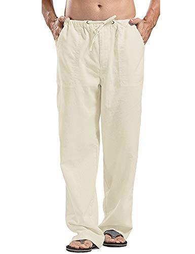 JINIDU Herren Yoga Hose Loose Casual Leichte elastische Taille Kordelzug Gerade Hose, 1- Leichtes Khaki, XL