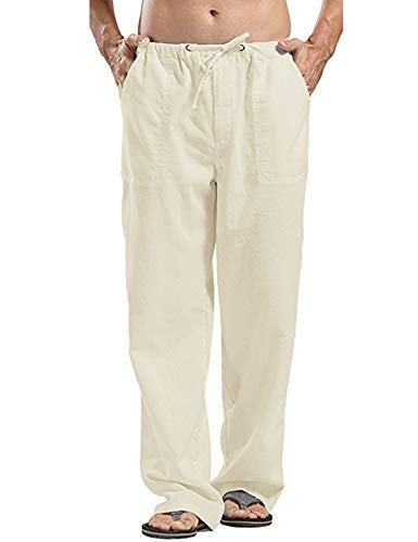 COOFANDY Men's Linen Casual Pants Summer Spring Beach Jog Elastic Waist Trousers
