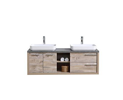 Badezimmer Badmöbel Set Vermont 150cm Nature Wood - Unterschrank Schrank Waschbecken Waschtisch