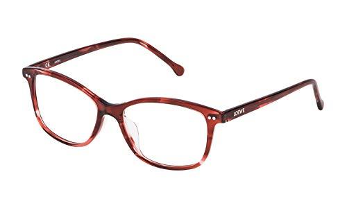 Loewe VLW9575201GJ Monturas de gafas, Red Streaked Havana, 55 Unisex