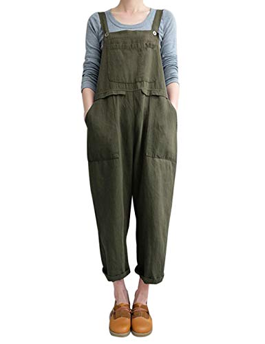 Gihuo Women's Baggy Cotton Overalls Jumpsuit with Pockets (Army Green, Small)