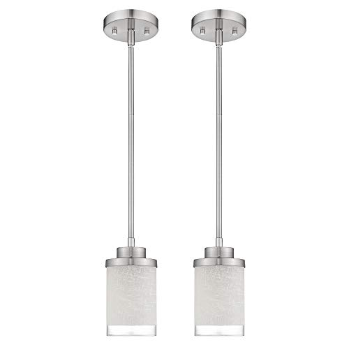 Jazava Modern Mini 1-Light Pendant, 2Pack Industrial Hanging Ceiling Light Fixture, Adjustable Length, Brushed Nickel Finish with White Linen Frosted and Clear Glass Shades