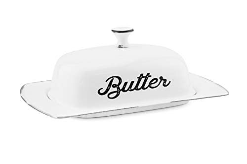 AuldHome Farmhouse White Butter Dish, Vintage Style Enamelware Butter Dish with Cover